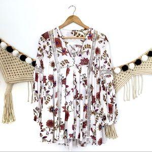 FREE PEOPLE White Floral Crochet Tunic Boho Dress